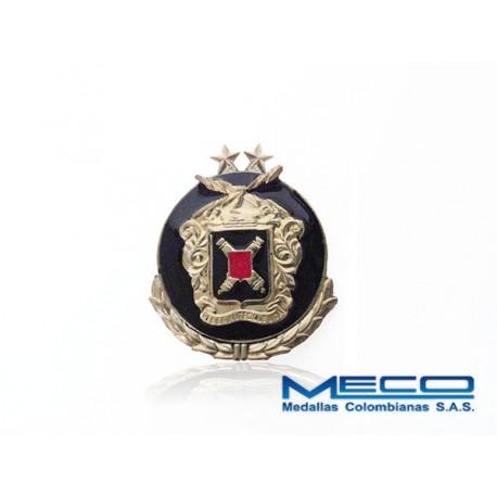 Distintivo Artilleria Suboficial 2 Estrellas con Laurel Ejercito Nacional