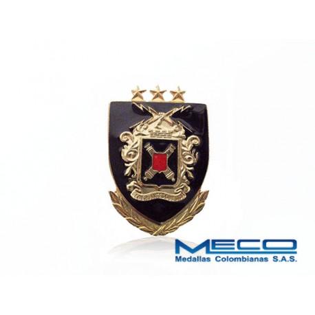 Distintivo Artilleria Oficial con Laurel 3 Estrellas Ejercito Nacional